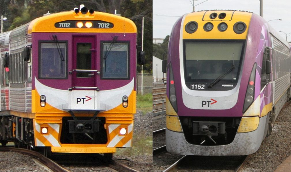 Comparison of PTV livery applied to Sprinter and VLocity trains