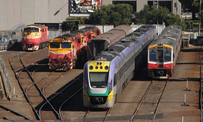 V/Line fleet in the sidings at Southern Cross Station